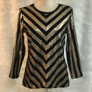 INC Size Small Top Gold Sequined Black Velvet NEW